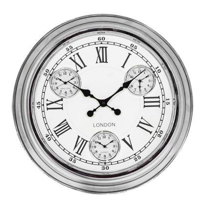 This super sleek and shiny chrome multidial clock is the perfect size, colour and finish for any home. Great value and super style. 50 x 50 x 7cm