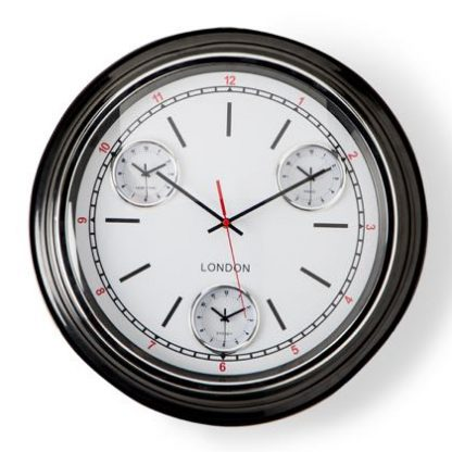 This black curved face clock is so refreshing and unusual. The white dial has simple black and red detailing, hands with a domed glass face. 50 x 50 x 7cm.