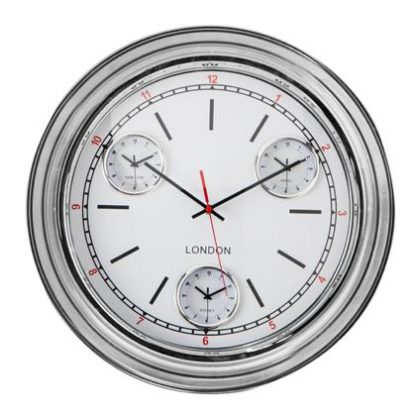 This chrome curved face clock has a dome glass face. The multi dials are a slick black and white with simple red hour detail and minute hand. 50 x 50 x 8cm.