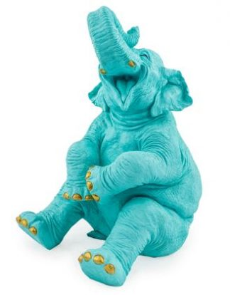 Nellie our very own blue laughing elephant ornament. She measures39 x 28.5 x 23.5cm and has wonderful gold detailing to her tusks and toenails. A great gift