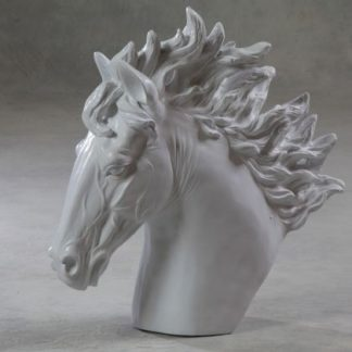 white horse head ornament painted a smooth white