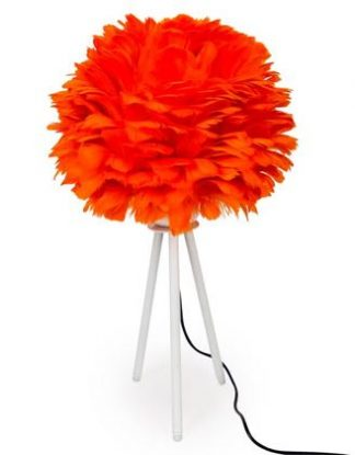 Make a truly original and bold statement with this orange feather table lamp. Standing on matt white wooden tripod. 58 x 33 x 33cm. Superb value for money!