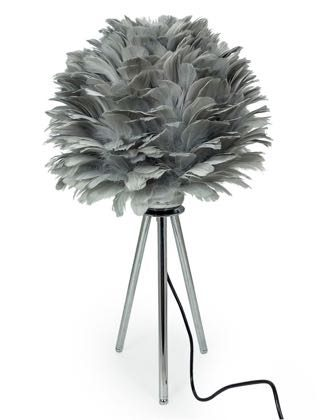 Look at this uber stylish silver grey feather table lamp standing on a chrome tripod. Measures 58 x 33 x 33cm. Super finish and great value for money too!