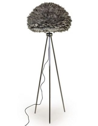 This simple silver grey feather floor lamp is on a chrome tripod base. Measures 168 x 65 x 65cm, a stunner!! Great value for money, superbly hand finished.