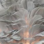 silver grey feather table lamp close up of fathers when lit
