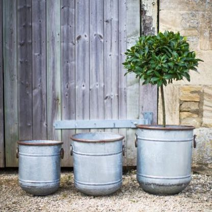 Stylish set of 3 Malmesbury planters come from the Garden Trading brand. Quality and style oozing out! Galvanised steel, vintage feel.