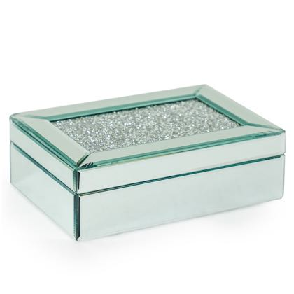 "Gorgeous diamond top jewellery box is a must have. Bevelled mirrored glass with hundreds of sparkling ""diamonds"" on the top.8 x 24 x 16.5cm. Ideal gift"