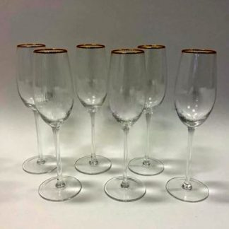 Super stylish and elegant champagne flute glasses set! Perfectly formed, delicately ribbed with fine gold rim. Uber Cool! 24 x 6.5 x 6.5cm