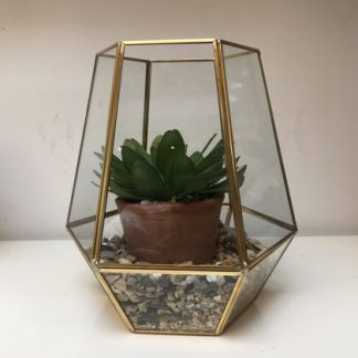 Get the look for less with this ready made small gold terrarium. Complete with washed gravel and fake plant. Super value, super gift. 22.5 x 20.5 x 20.5cm