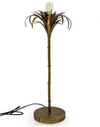 This gold palm tree table lamp is so stylish. Hand finished in gold paint with antique effect. It's a must have!! Great price. Measures at 54 x 23 x 23cm.