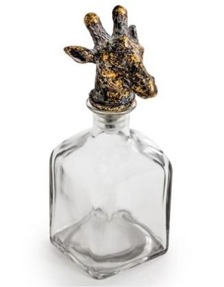 This giraffe glass bottle is a quirky and unusual ornament. The small giraffe headprovides an attractive stopper to a square glass bottle. 24 x 10 x 10cm