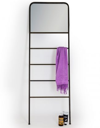 Truly awesome industria black rail mirror. A really cool storage and mirror solution