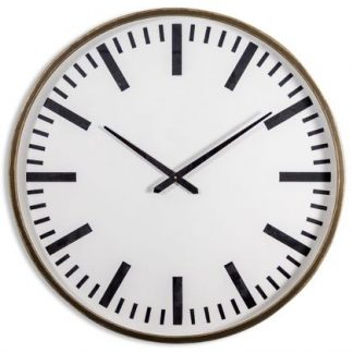 Extra large iron framed simple station styled clock