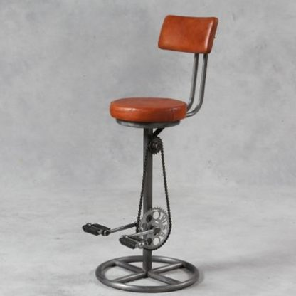 This pedal bar stool is made of tubular iron and vintaged leather, it looks fabulous in a kitchen or behind the bar! Measures 107 x 41 x 76cm