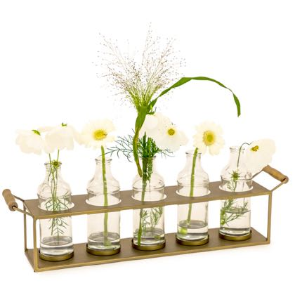 This set of glass bottles plant holder is easy to use. 5 bottles in a sturdy wooden and brass tray. Great candle holder too! 19.5 x 57 x 11cm. Christmas!
