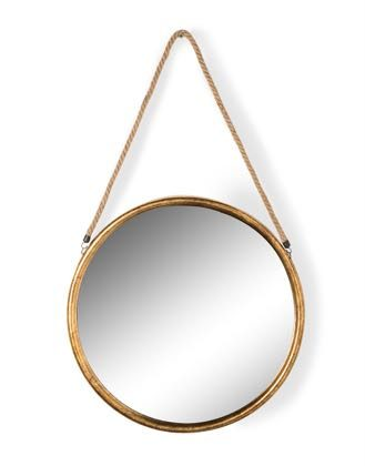 This large round gold mirror on rope is a superb feature mirror. Great value for money. Measures at 58 x 58 x 2.8cm (plus rope) Great in the hallway or loo.