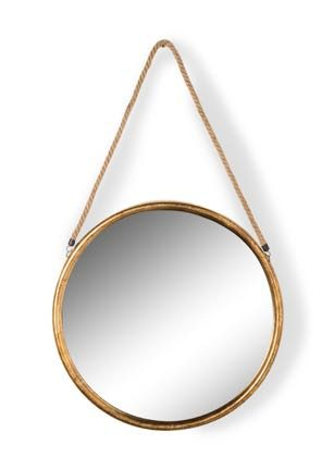 This gold round mirror on rope is a superb feature mirror. Good value for money. Gold painted frame with simple rope. 46 x 46 x 2.8cm (plus rope) Lovely
