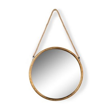 Small gold mirror on rope is a simple stylish feature mirror. Hand finished in antiqued gold. 36 x 36 x 2.8cm. Sturdy rope, rounded frame, great value.