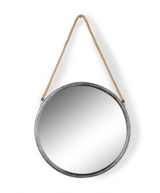 This large round silver mirror on rope is a superb feature mirror. Great value for money. 58 x 58 x 2.8cm (plus rope)Total 100cm Great in the hallway.