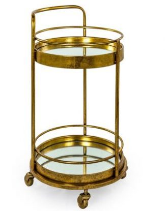 Add glamour with this gold leaf drinks trolley. Small but perfectly formed this round trolley has 2 mirrored shelves. Stylish and practical. 77 x 42 x 42cm