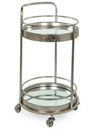 Add glamour with this silver leaf small drinks trolley. Perfectly formed, this round trolley has two mirrored shelve . 77 x 42 x 42cm. Perfect for parties!