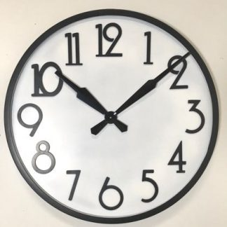This über stylish white black round clock has wonderful 1920's style. The plain black frame and the plain black Art Deco numbers. Takes 1 AA battery and measures 84 x 84 x 7cm. Great value for money.