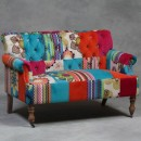 multicoloured patchwork sofa