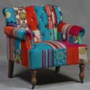This wonderful patchwork armchair is a sublime mix of bright colours and patterns. It measures 84 x 78 x 79cm and is great value for money.