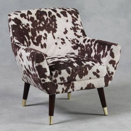 Retro styled brown cowhide chair