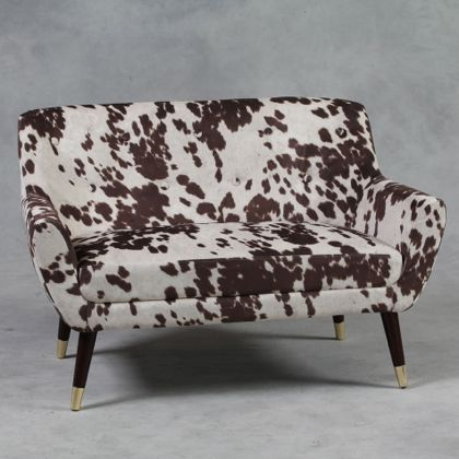 cream and brown cowhide sofa 2 seater retro style