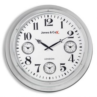 This super stylish large deep framed chrome clock has 3 smaller dials within the large white face. Measures 60 x 60 x 13cm. Super quality and finish.