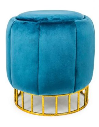 This small but perfectly formed round teal stool is a beauty! Great upstairs or down. A simple elegant velvet covered seat. H46 x W42 x D42cm Good value too