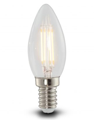 The 4w LED candle bulb is complete with a retro style filament in a clear glass finish. Gives out great clear warm light. Small screw in, E14. Good value.