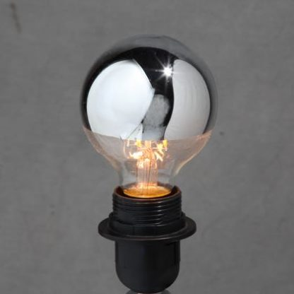 This large LED silver bulb E27 is a wonderful round globe, half in a shiny silver coating. Perfect lighting, great quality, great value. 12 x 8 x 8cm