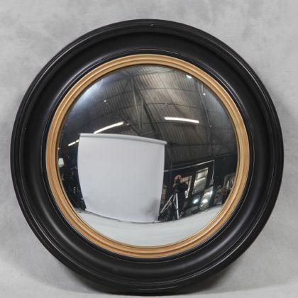 medium black convex mirror measure 54 x 54cm wood painted black with gold inner edge