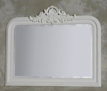 white crested overmantle mirror