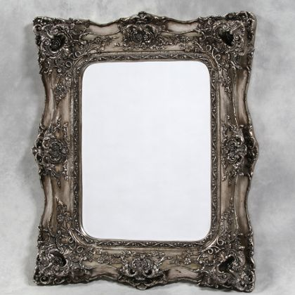 silver classical square mirror double edge ornate frame superb colour and finish measures124 x 104 x 14cm (80 x 59cm glass)