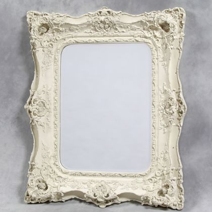 White Classical Square Mirror Ornate French Style Large Luxury Cream