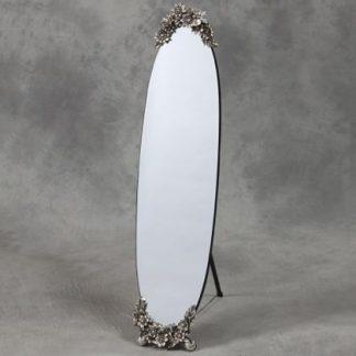 oval frameless dressing mirror with metallic butterfly detailing162 x 33 x 5cm (141 x 33cm glass)