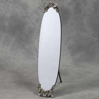 oval frameless dressing mirror with metallic butterfly detailing162 x 33 x 5cm (141 x 33cm glass)