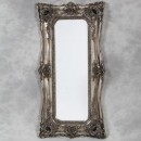 tall silver ornate mirror double edged frame