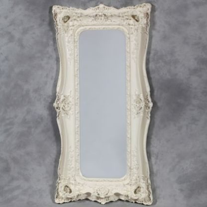 tall cream ornate mirror with ornate double frame surround can be hung both ways