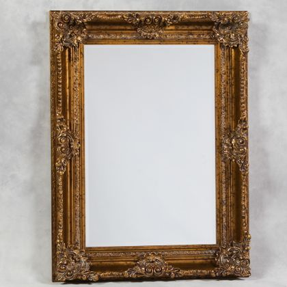 gold classic ornate mirror has a touch mor frame detail than the Regal cousin but still the same great colour and finish , measures 120 x 90 x 10cm