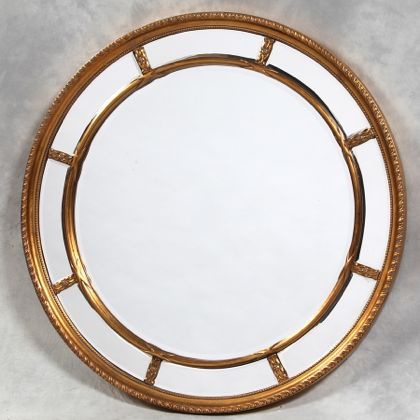 large round gold window mirror in fabulous colour bevelled edges to mirrors