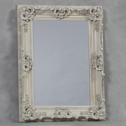 antique white ornate regal mirror is perfect hand finished and measures 118 x 90 x 10cm (89 x 61cm glass)