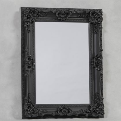 antique black ornate regal mirror 118 x 90 x 10cm