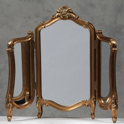 Gold 3 Fold Table Mirror Dressing Table Mirror Bedroom Mirror