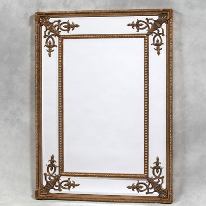 gold square French mirror large slightly ornate rectangular mirror
