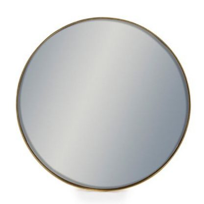 This small round gold mirror has a simple thin frame that is painted a smooth subtle gold. Simple and stylish, great value. It measures 50.5 x 50.5 x 4 cm