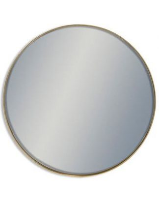 Gold Arden round mirror. Add some style and sophistication with this sleek giant gold Arden round mirror. Measures a whopping 121 x 121 x 4cm. Thin elegant gold painted frame.